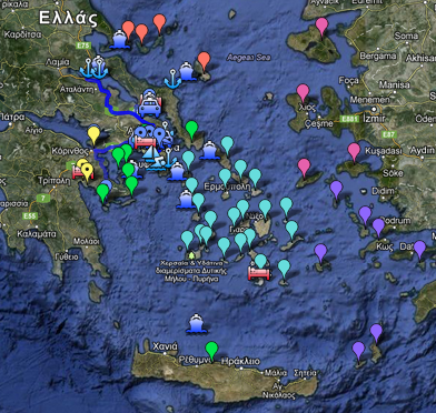 Greek guide Map, info for Destinations – Hotels - Transportations